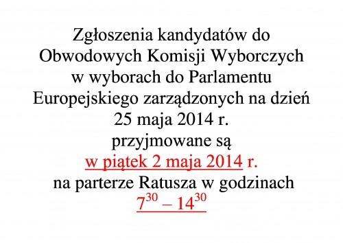Zgłoszenia kandydatów do Obwodowych Komisji Wyborczych