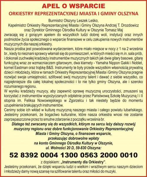 Apel o wsparcie orkiestry z Olszyny