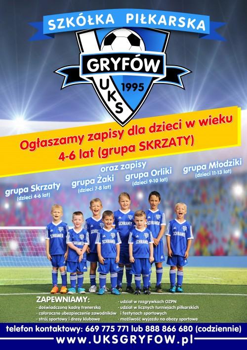 Zapisy do szkółki piłkarskiej UKS-ZSOiZ Gryfów Śląski
