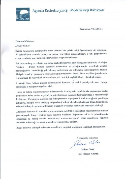 List Prezesa ARiMR do sołtysów z okazji Dnia Sołtysa