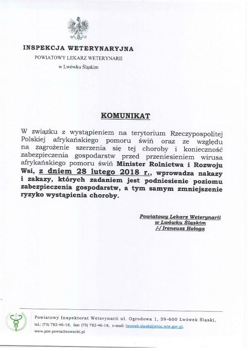 Komunikat Powiatowego Lekarza Weterynarii