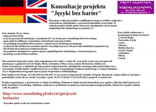 Konsultacje projektu – Języki bez barier