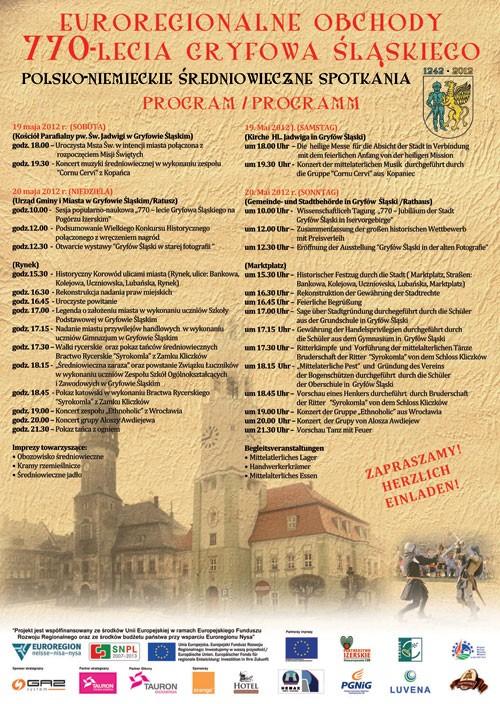 770-lecia Gryfowa Śląskiego  – Program
