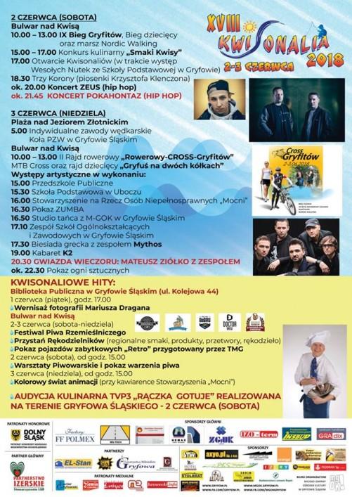 Program Kwisonaliów 2-3 czerwca 2018r.