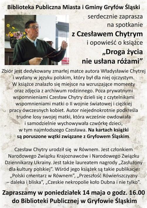 Spotkanie z Czesławem Chytrym i opowieść o książce