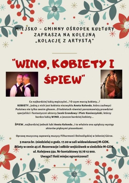 Kolacja z Artystą –  Wino, kobiety i śpiew
