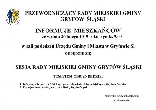 Informacja o terminie sesji Rady Miejskiej Gminy Gryfów Śląski