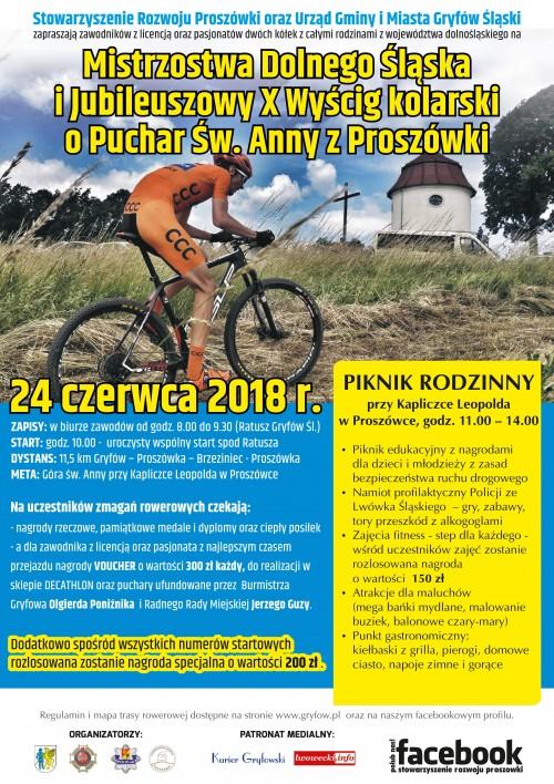 Jubileuszowy X Wyścig Kolarski o Puchar Św. Anny z Proszówki