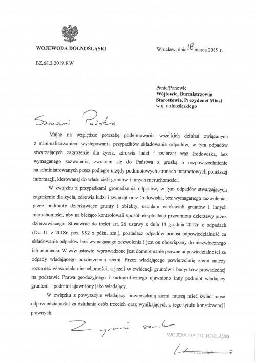 Pismo Wojewody Dolnośląskiego