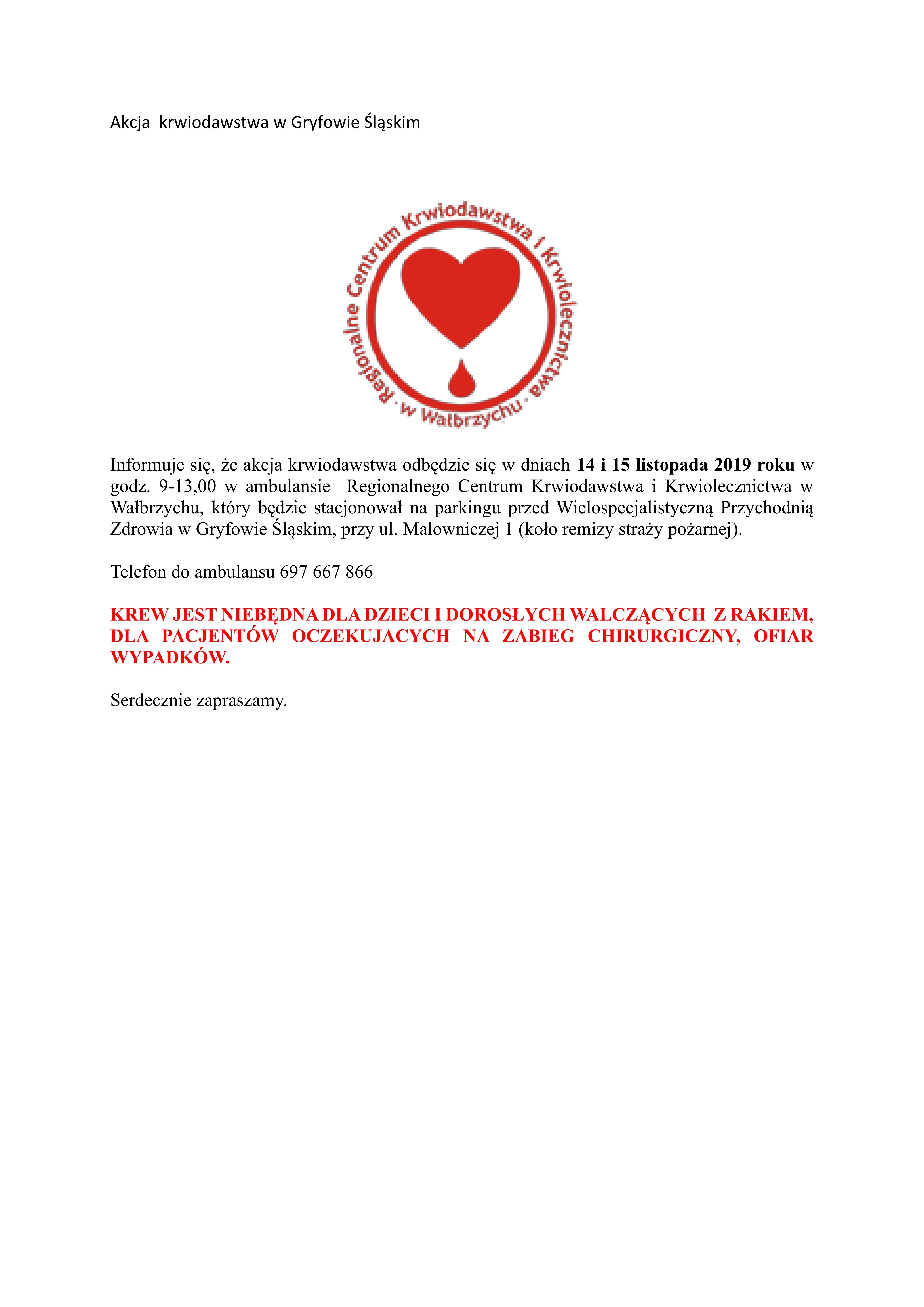 Akcja  krwiodawstwa w Gryfowie Śląskim