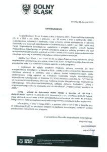 Zarząd Województwa Dolnośląskiego zawiadamia o przyjęciu projektu uchwały Sejmiku Województwa Dolnośląskiego w sprawie uchwalenia programu ochrony powietrza dla stref w województwie dolnośląskim, w których w 2018 r. zostały przekroczone poziomy dopuszczalne i docelowe substancji w powietrzu wraz z planem działań krótkoterminowych.