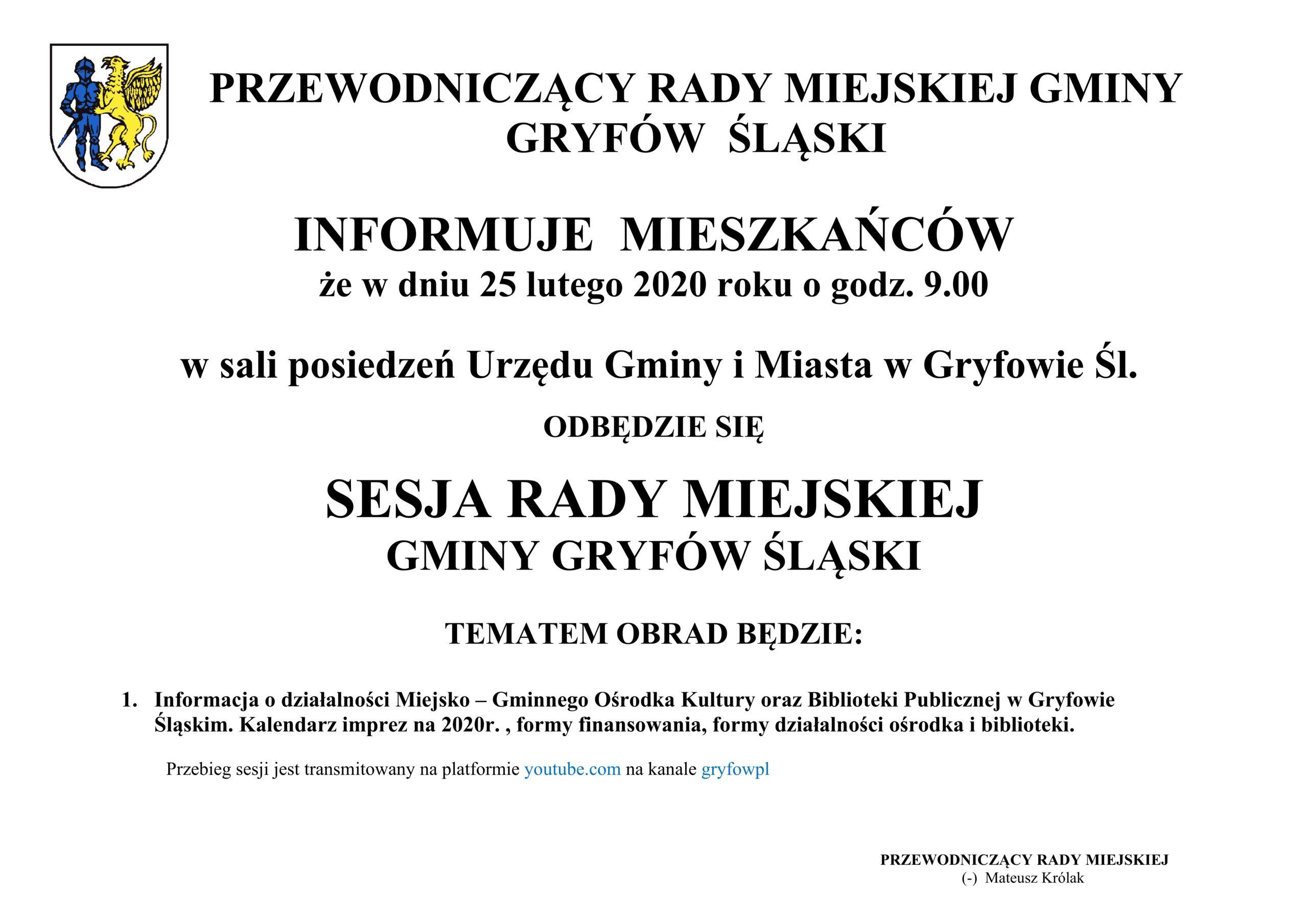 SESJA RADY MIEJSKIEJ GMINY GRYFÓW ŚLĄSKI.