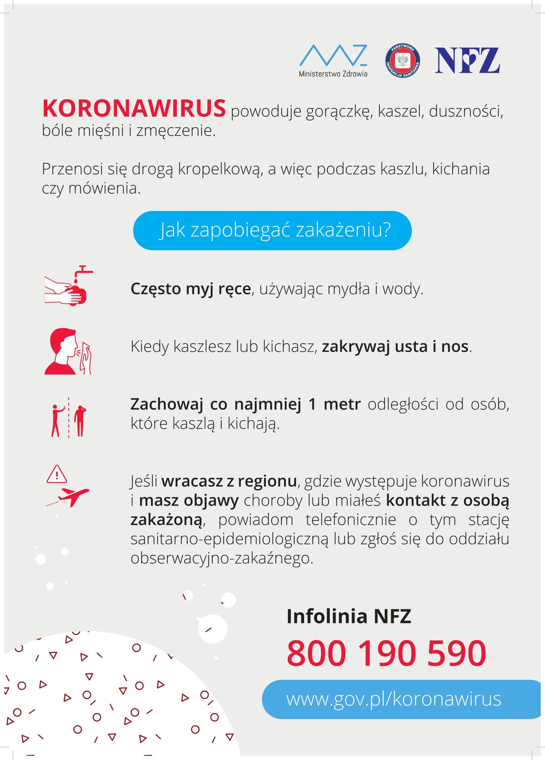 Plakat informacyjny dot. zapobiegania zakażeniem koronawirusem