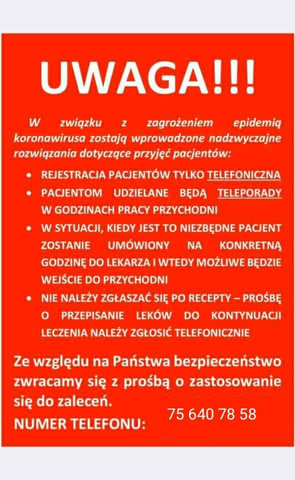 Komunikat PRZYCHODNI WIELOSPECJALISTYCZNEJ w Gryfowie Śląskim ul. Malownicza