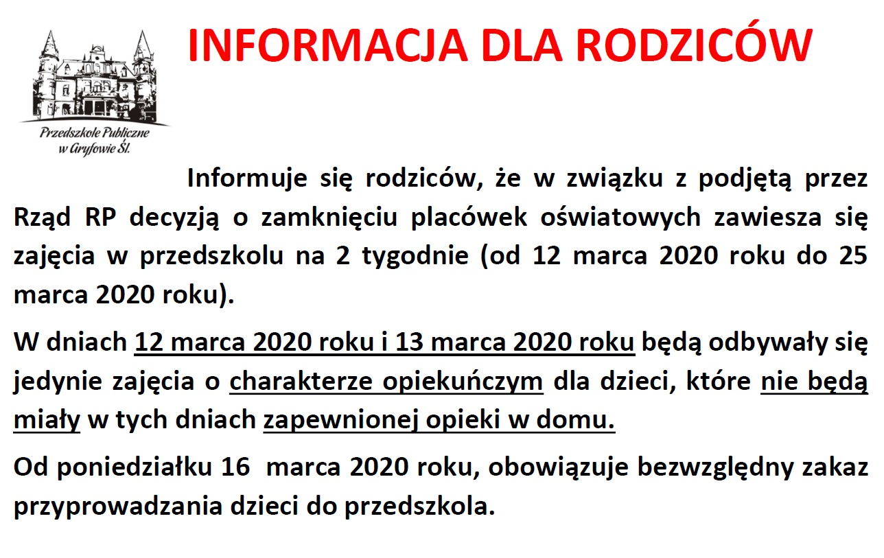 Informacja dla rodziców – Przedszkole publiczne w Gryfowie Śląskim