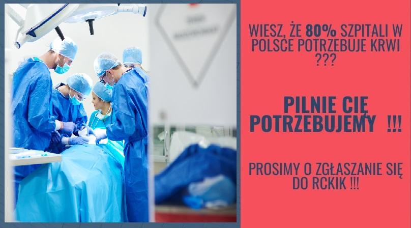 Apel Centrum Krwiodawstwa Wrocław: W związku z wyjątkową sytuacją i wzrastającą liczbą osób hospitalizowanych, rosnącym zapotrzebowaniem na krew ze szpitali  zwracamy się do  wszystkich Honorowych Dawców Krwi oraz wszystkich zdrowych osób o zgłaszanie się celem oddania krwi. www.rckik.wroclaw.pl