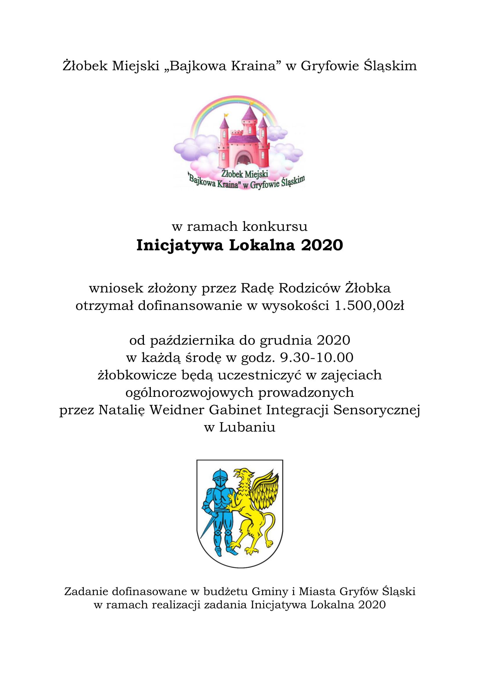 """Inicjatywa Lokalna 2020 w Żłobku Miejskim """"Bajkowa Kraina"""" w Gryfowie Śląskim"""