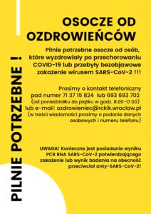 Regionalne Centrum Krwiodawstwa i Krwiolecznictwa we Wrocławiu zwraca się z gorącą prośbą do osób, które przeszły zakażenie SARS-CoV-2 o oddawanie osocza.