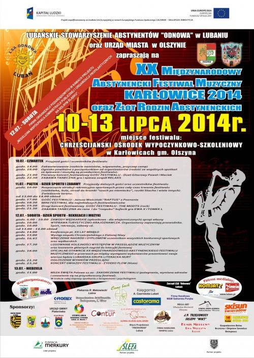 Zaproszenie na XX Międzynarodowy Abstynencki Festiwal Muzyzczny