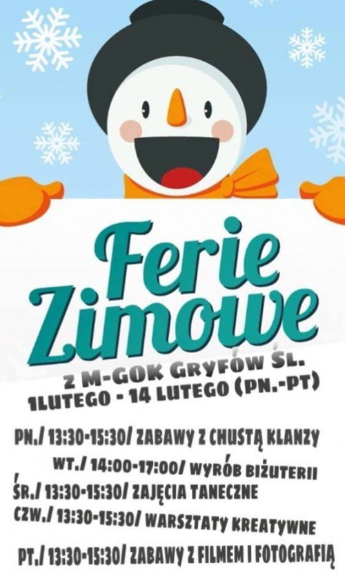 Ferie Zimowe w M-GOK w Gryfowie Śląskim