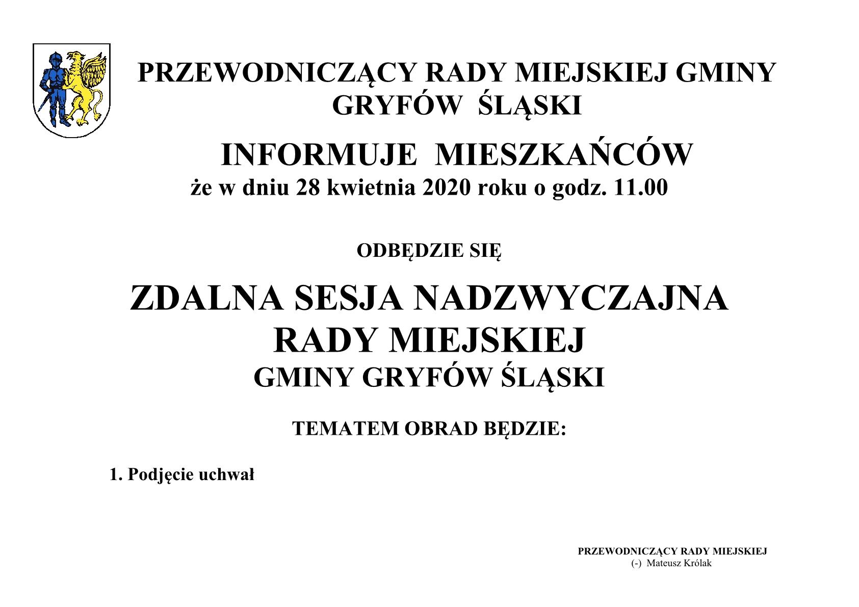 Ogłoszenie o sesji Rady Gminy i Miasta Gryfów Śląski