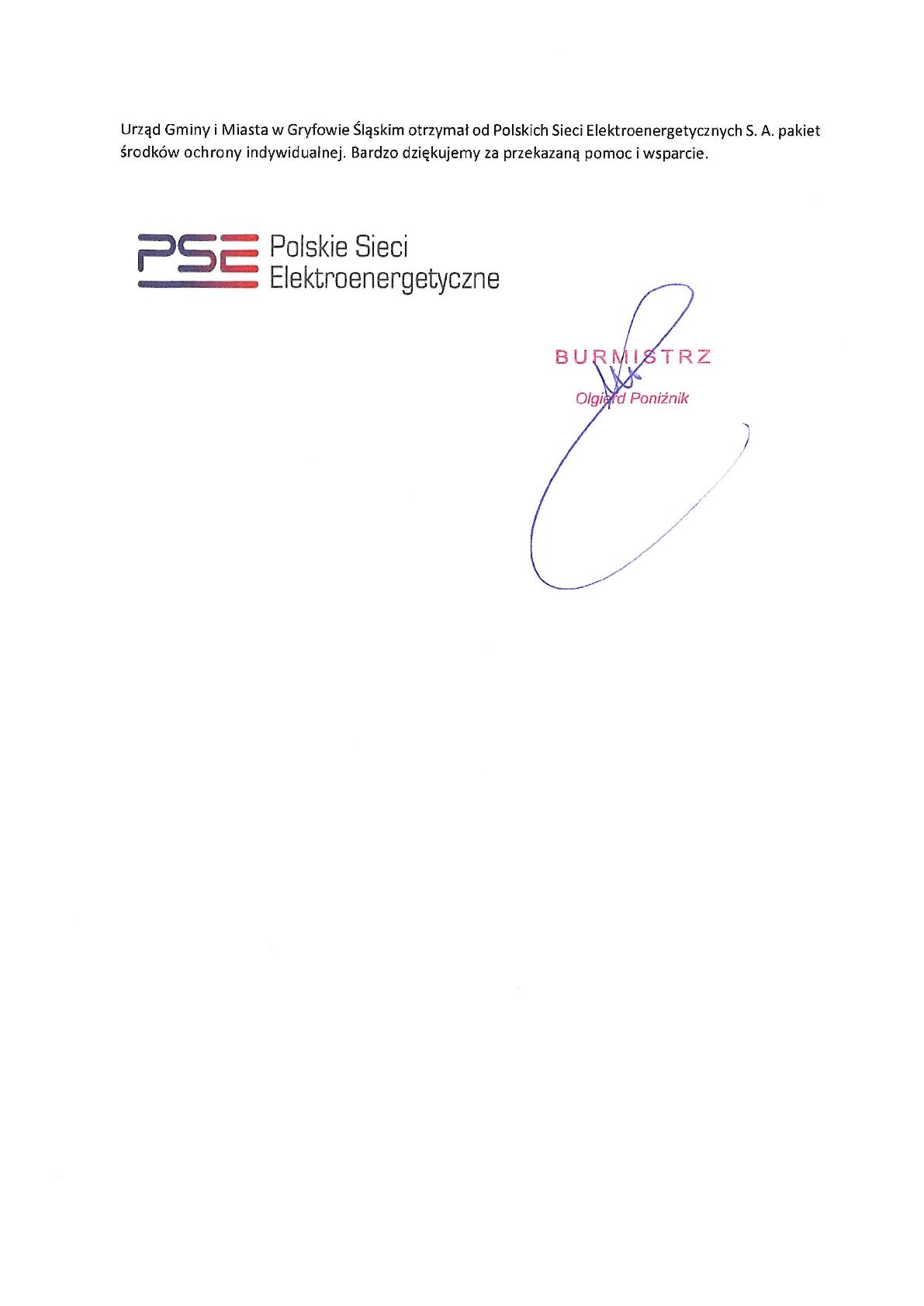 Podziękowanie dla Polskich Sieci Elektroenergetycznych S. A.